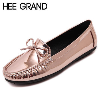 HEE GRAND Silver Loafers Casual Platform Shoes Woman Bowtie Ballet Flats Slip On Moccasin Fashion Women Shoes Size 35-40 XWD4342