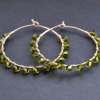 Olive Green Hoop Earrings, Crystal Hoops, Beaded Wire Jewelry, Swarovski Crystals