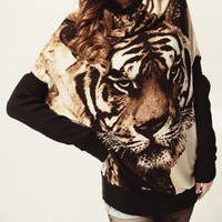 Tiger Printed Sweaters Beige$48.00