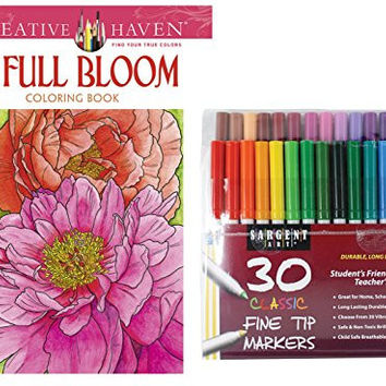 Sargent Art Classic Fine Tip Markers in a Case, Set of 30 and Dover Creative Haven Full Bloom Coloring Book, Garden Lovers Flower Designs to Color for Stress Relieving Therapy!