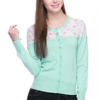Romantic Day Lace Inset Long Sleeve Cardigan in Mint | Sincerely Sweet Boutique