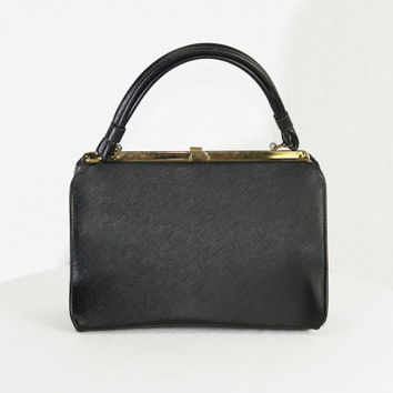 Vintage 1950's Black Handbag Kelly Bag