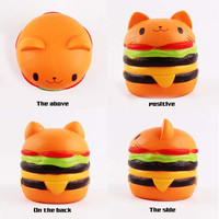 New Squishy Cat Head Burger Fine Packaging Simulation Food Toys Soft Slow Rebound Bounce Props
