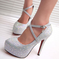 Hot sale 2016 new style fashion shoes bridal shoes Women wedding shoes rhinestone high heels Women pumps 1257
