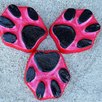 Dog paw print planter feet, Pot feet, Dog print, Yard art, Patio decor, Black, Red, Plant stand, animal paw
