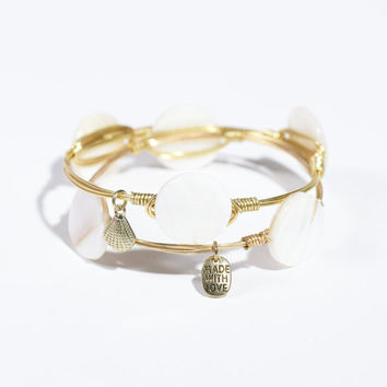 Ships Free! White/Cream Flat Opalescent Round Stone Bracelet (Inspired by Bourbon and Bowties bangles) - great gift idea!