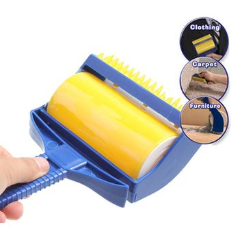High Quality Rubber Cleaner Brush Roller Reusable Sticky Buddy Picker Catcher Lint Sticking Roller Built-in Fingers Brush