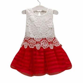 summer Kids Girls dresses Cotton Lace baby mini dress Crochet Sleeveless infant Princess Flower Tutu cute clothing3 colours 2-6Y