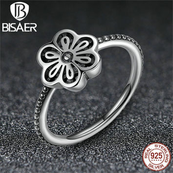 Vintage 925 Sterling Silver Flower Floral Daisy Lace Ring Authentic Fine Jewelry for Women Compatible With Pan Jewelry A7180