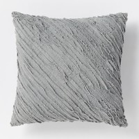 Diagonal Frayed Pillow - Slate