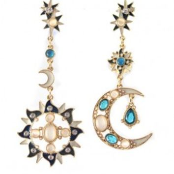 Sun&Moon Shape Cat's Eye Earrings