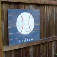 Baseball, Pallet board, Sports theme room, Boys room wall art, Personalized, Name sign, Painting on wood, Kids room art, Blue red and white