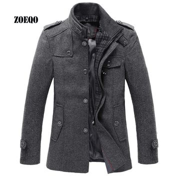 ZOEQO New Style Autumn and Winter Jackets Men Wool Jacket men's slim fit thickening Winter coat men,men Short Trench  Jacket
