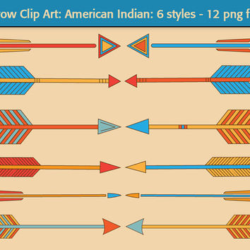 Arrow Clip Art - American Indian. 12 Multicolored arrows - teal, orange, yellow and red - 6 graphic styles. Use for web or print projects.