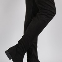 Bamboo Vegan Suede Flat Thigh High Boots