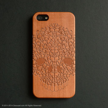 Real wood engraved skull pattern iPhone case S004
