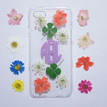 iphone 6s plus case,Personalized iPhone 6s plus cover,pressed flower iPhone 5C case,initial iphone 6 plus case,flower iphone case