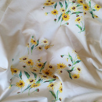 1950s Wilendur Tablecloth Black Eyed Susans High Quality 100% Cotton Tagged