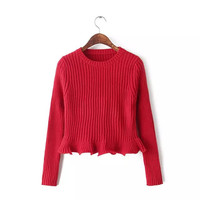 Ruffled Long-Sleeve Knitted Sweater