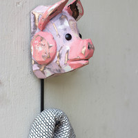 Wooden Pig Head with Hook