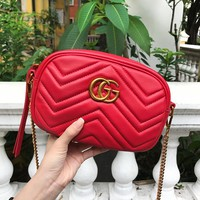 Gucci Fashion Lady's Double G Hot Selling Wave Slip Bag Small Waist Bag #1