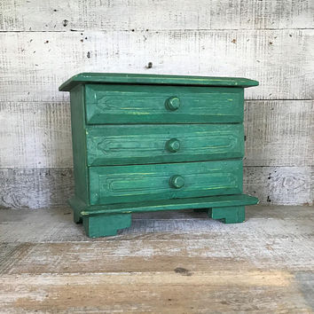 Jewelry Box Handmade Box with Drawers Green Jewelry Box Wooden Folk Art Box 3 Drawer Jewelry Box Trinket Box Cottage Chic Wooden Box
