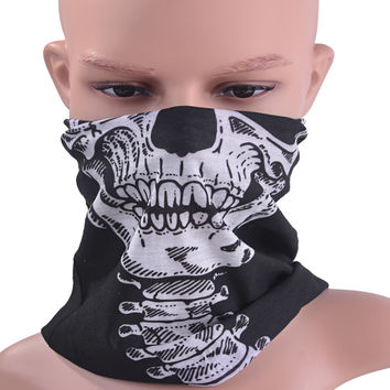 COXEER Halloween Cosplay Bicycle Ski Skull Mask Half Face Mask Ghost Scarf Neck Warmer skull Party Mask Motorcycle Mask