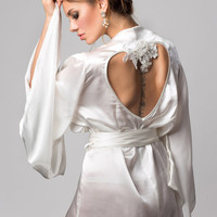 Alexina wedding gown robe, Ivory silk satin kimono bridal robe - bespoke heart embroidery