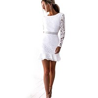 2019 Fashion Women Long Sleeve Backless Ruffles Lace-up Bodycon Casual Party Cocktail Sexy Mini Lace Dress
