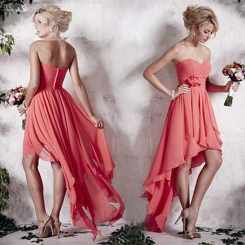 Lovely Coral Colored Chiffon Backless Bridesmaid Dresses 2016 Sweetheart Rucehd Custom Made Wedding Party Gowns At Cheap Price