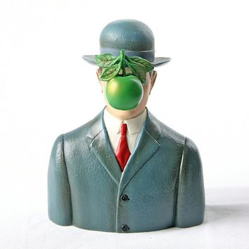Bowler Hat Man with Green Apple Son of Man by Magritte, Assorted Sizes