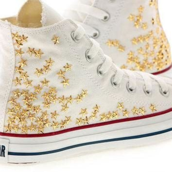 DCCKHD9 Studded White Converse Gold Star Studs with converse White high top by CUSTOMDUO on ET