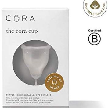 Cora Menstrual Cup, Reusable Period Cup - Ultra-Soft, Comfortable & Leak-Proof Medical Grade Silicone - Tampon and Pad Alternative - Size 1, Light-Medium Flow