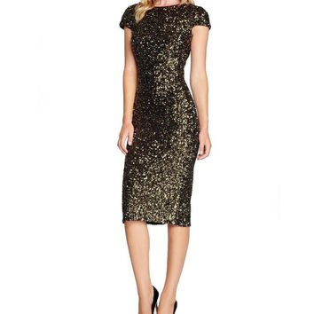 Black and Gold Sequined Short Sleeve Midi Dress