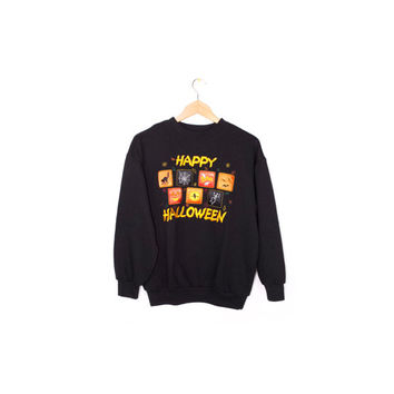 vintage HALLOWEEN sweatshirt - 90s black crewneck sweater - ghost - bats - pumpkin - witch - black cat - skeleton - small
