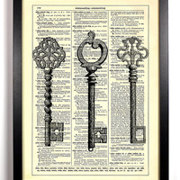 Three Skeleton Keys  Repurposed Book Upcycled Dictionary Art Vintage Book Print Recycled Vintage Dictionary Page Buy 2 Get 1 FREE