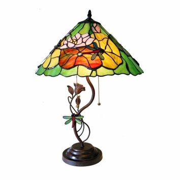 "Marisa, Tiffany-Style 2 Light 3D Florals Table Lamp 17"" Shade"