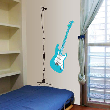 New cartoon guitar microphone sitting room bedroom home decoration wall stickers in the wall to stick on the wall SM6