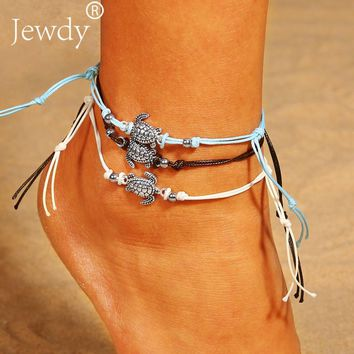 3PCS/SET Vintage Turtle Multilayers Anklets for Women Bohemian Retro Rope Anklet Foot Jewelry