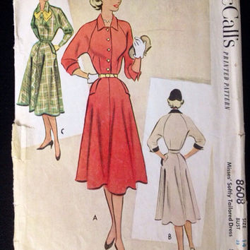 Vintage Pattern McCall's 8608 dress Full skirt New Look 1950s Bust 32 1951