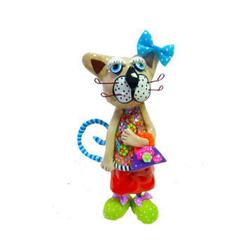 Cat sculpture, polymer clay, handmade,made in Israel