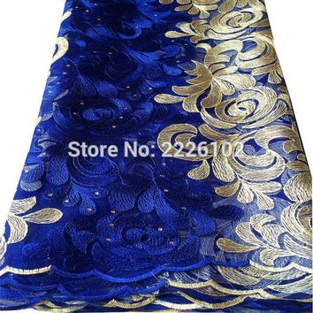 Latest 2017 african lace embroidery nigerian party dress fabric net lace material lemon aso ebi french royal blue lace fabric