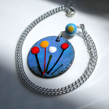 Spring Flowers Blue Handcrafted Enamel Pendant OOAK Artisan Pendant Rustic Red Yellow Blue White Flowers on Blue Background Silver Chain