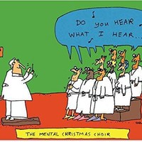 "12 ""Mental Choir"" Christmas Cards with Envelopes, Happy Holidays with the Psych Ward Choir, Crazy People Season's Greetings Cards, Merry Christmas with Lunatics"