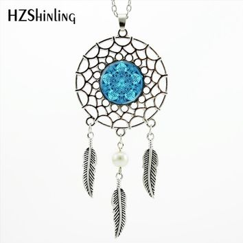 2017 Trendy Style Occult Wiccan Necklace Magic Pentagram Jewelry Wiccan Dream Necklace Silver Dream Catcher Necklace NDC-0062