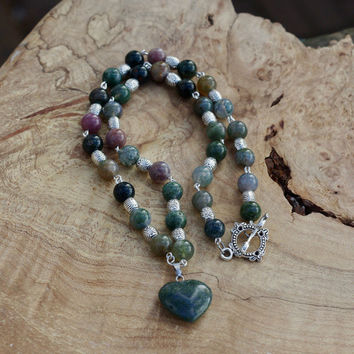 Indian Agate Stone Necklace ~ Indian Agate Heart Pendant ~ Hand Wired Stone Necklace ~ Earth Tones  ~ Bohemian Green Heart ~ Semi Precious