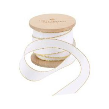 "7/8"" White Grosgrain Fabric Ribbon with Gold Metallic Edge 5yd - sugar·paper™"