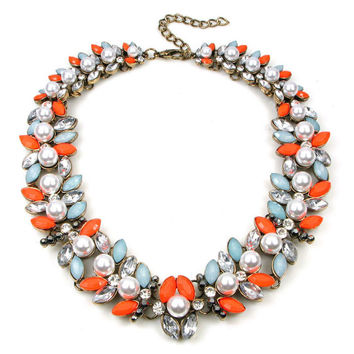 ZARA Stones and Pearls Collar Necklace