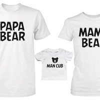 Daddy or Mommy or Baby Family Matching Bear Family T-shirt and Onesuit