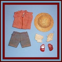 1953 Vogue Ginny Doll Outfit - Shirt, Shorts, Straw Hat, Socks + Shoes (item #1292762)